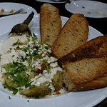 Vegetables, vegan cream and bread