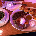 6 oz steak with shrimp combo side of sweet potato and green beans