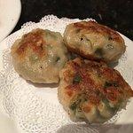 Shrimp with scallion dumplings.