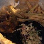 Jerk chicken nachos and Sunset burger