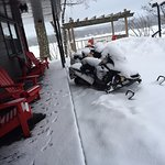 Yes, snow mobiles are welcome. This is in the courtyard.