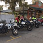 Our rides outside the bbq Joint.