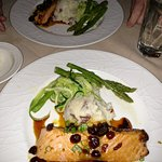 Scottish Salmon, mashed potatoes, asparagus with a cherry glaze reduction