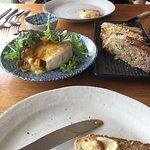 Oven baked brie, cape grimm beef, the view