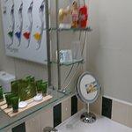 Garden apartment bathroom, shower, vanity, toilet.Harpers Bazaar print