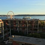 That's the view from table one. A great place to watch the sun set over Seattle!