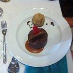 Dark chocolate delice, sea salt caramel sauce with toffee ice cream