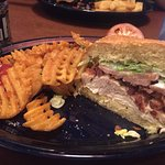 Grilled chicken BLT sandwich with waffle fries