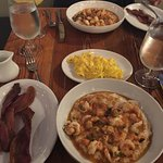 2nd time French toast, cheese eggs, bacon and Shrimp & Grits!! Done perfecto