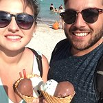 Us loving our massive ice creams on the beach!