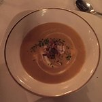Butternut squash bisque with lobster