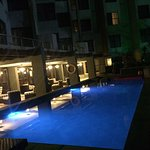 The stunning decor and the view of the deck pool from our room 223.. Room is spacious