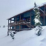 Lodge as the snow continues :) more powder to play in! Yay! (View from the Private Chalet)