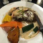 Steak Garlic Prawns with vegetables.