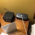 Plugs galore! The alarm clock also has charging capabilities!