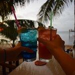 Enjoying drinks on the patio