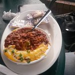 Crawfish Corn Chowder, Chili and fries