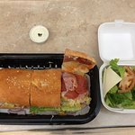 Tuscan Pizza's Hot Italian Sub w/side salad and dressing - even better tasting than it looks!