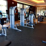 Decent weights rack & plates and lifefitness brand strength-training equipment.