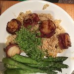 Scallops with duck bacon. INCREDIBLE. Asparagus perfectly cooked.