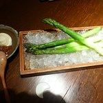 Beautiful crisp cold asparagus served with mayonnaise & miso paste