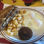2-Egg Breakfast w/sausage patty, fried potatoes and marbled rye toast
