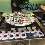 Desserts served at New Years Brunch 1 January 2017 and front of hotel at night