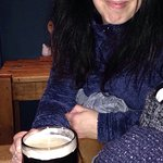 Zowie enjoying a pint of 99 Red Baboons from Blue Monkey Brewery.