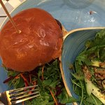 Veggie burger and salad