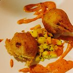 Crab beignets with mango