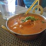 Butter panner, chicken tikka masala, naan and drinks