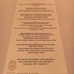 menu for NYE