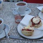 Delicious Cornish cream tea & Earl Grey tea - outside in December