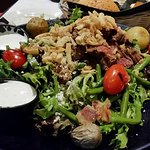 Salad with Thinly Sliced Filet Mignon, Potatoes, Green Beans, Mixed Greens, Blue Cheese and Baco