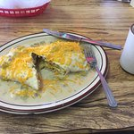 No meat burrito smothered in green chile sauce. Yum!