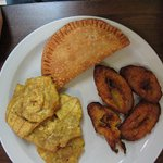 Chicken and rice plantain, sweet plantains, tostones
