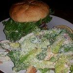 Classic burger and caesar salad