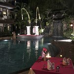 Special holiday dinner event by the pool for Christmas