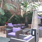 Courtyard off hotel lobby with seating