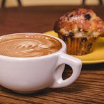 delicious latte and muffin