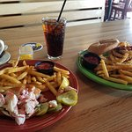 Lobster roll, burger, and peanut butter pie