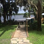 The walkway to our Boathouse Bar on the river and boat slips.