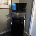 Tv and fridge