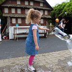 Kids are encouraged to participate in bubble demonstration.