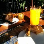 Breakfast (or what's left of it) with espresso, fresh-squeezed orange juice and charming atmosph