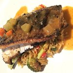 ainbow Trout with Étouffée Sauce & Dirty Rice