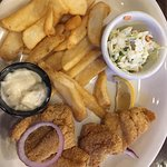 Catfish, coleslaw and fries