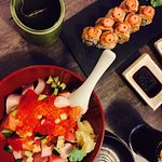 Normal Chirashi Don, Green Tea and Salmon Aburi