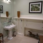 One of the two bathrooms in the room.