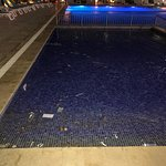 Swimming pool full of garbage, empty plastic containers, napkins, etc.